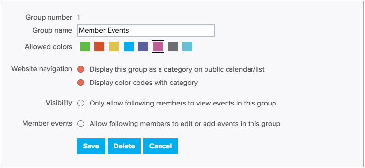 Create Event Categories