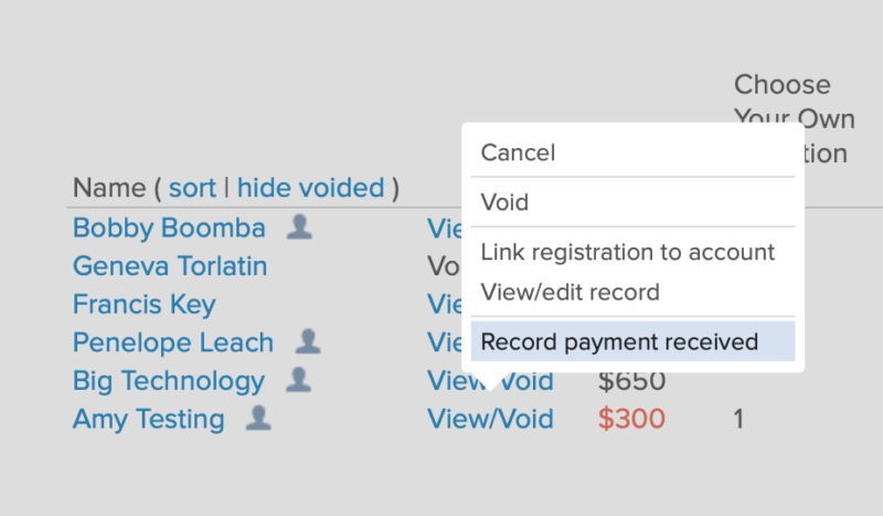 record form payment received