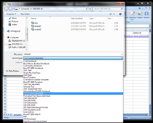 convert Excel to csv