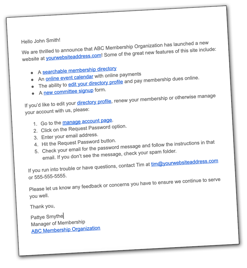 announce your new website by email