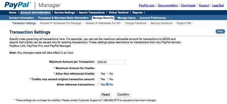 Paypal Payflow Check Transaction Settings