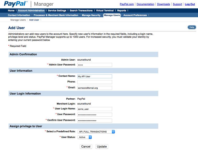 PayPal Payflow Pro Create API User