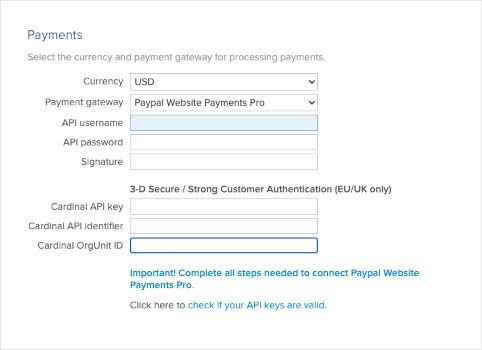 Paypal Payments Pro Add Credentials