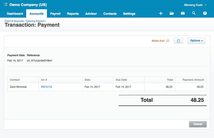 Xero payment