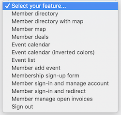 select your feature menu